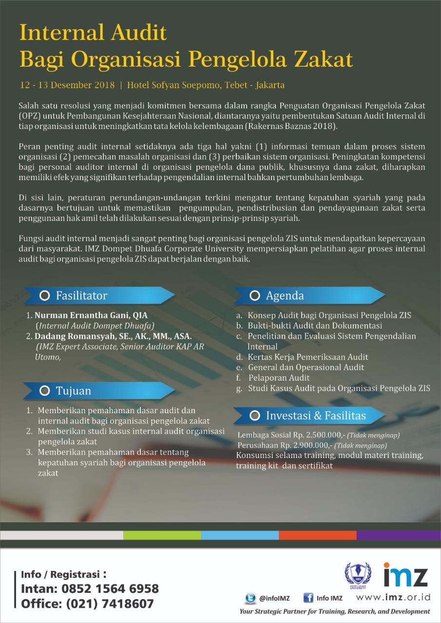 Internal Audit Bagi Organisasi Pengelola Zakat Imz